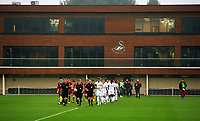 Pictured: Match officials followed by the two teams enter the pitch. Friday 11 August 2017<br /> Re: Premier League 2, Division 1, Swansea City U23 v Liverpool U23 at the Landore Training Ground, Swansea, UK