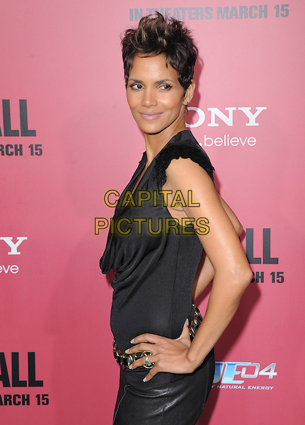Halle Berry.'The Call' world film premiere, Arclight Cinemas, Hollywood, California, USA. 5th March 2013.half length black side top leather skirt hands on hips.CAP/DVS.©DVS/Capital Pictures