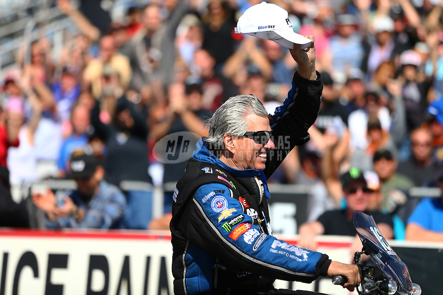 Feb 26, 2017; Chandler, AZ, USA; NHRA funny car driver John Force during the Arizona Nationals at Wild Horse Pass Motorsports Park. Mandatory Credit: Mark J. Rebilas-USA TODAY Sports