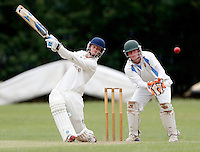 Jordan Bethel hits out for Brondesbury during the Middlesex Cricket League Division Two game between Brondesbury and Wembley at Harman Drive, London on Sat Aug 1, 2015