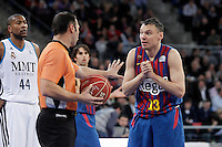 FC Barcelona Regal's Sarunas Jasikevicius have words with the referee during Spanish Basketball King's Cup match.February 07,2013. (ALTERPHOTOS/Acero) /Nortephoto