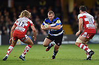 Scott Andrews of Bath Rugby goes on the attack. Aviva Premiership match, between Bath Rugby and Gloucester Rugby on October 29, 2017 at the Recreation Ground in Bath, England. Photo by: Patrick Khachfe / Onside Images