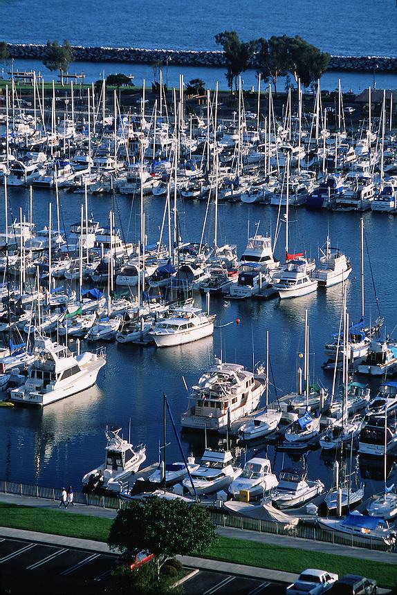 Aerial view of a seaside coastal marina on the Pacific Ocean. Dana Point, California.