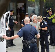 October 6, 2011  (Washington, DC)  Eve Tetaz of Washington, DC was one of five people arrested for protesting at the Hart senate office building.  Several dozen people converged on the Hart building to protest the United States on-going war efforts.  The demonstration was organized by October 2011 and Veterans For Peace.  (Photo by Don Baxter/Media Images International)