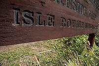 Signage at Isle Royale National Park in Michigan USA.