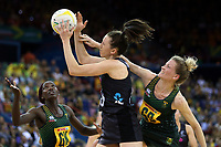 02.08.2017 Silver Ferns Bailey Mes and South Africa's Karla Mostert (R) in action during a netball match between the Silver Ferns and South Africa at the Brisbane Entertainment Centre in Brisbane Australia. Mandatory Photo Credit ©Michael Bradley.