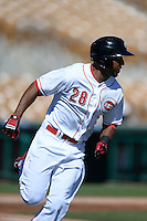 Glendale Desert Dogs outfielder Yorman Rodriguez (28), of the Cincinnati Reds organization, during an Arizona Fall League game against the Mesa Solar Sox on October 8, 2013 at Camelback Ranch Stadium in Glendale, Arizona.  The game ended in an 8-8 tie after 11 innings.  (Mike Janes/Four Seam Images)