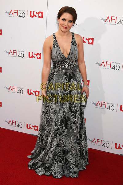 SOPHIA BUSH.35th Annual AFI Life Achievement Award Honoring Al Pacino at the Kodak Theatre, Hollywood, California, USA.7 June 2007..full length black and white grey print long halterneck dress.CAP/ADM/BP.©Byron Purvis/AdMedia/Capital Pictures.