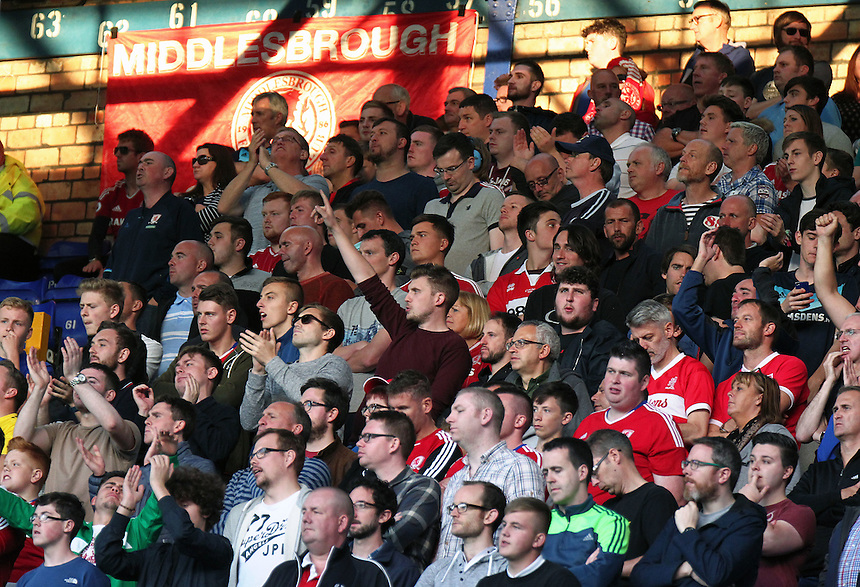 Middlesbrough fans watch the second half action <br /> <br /> Photographer Rich Linley/CameraSport<br /> <br /> The Premier League - Everton v Middlesbrough - Saturday 17th September 2016 - Goodison Park - Liverpool<br /> <br /> World Copyright &copy; 2016 CameraSport. All rights reserved. 43 Linden Ave. Countesthorpe. Leicester. England. LE8 5PG - Tel: +44 (0) 116 277 4147 - admin@camerasport.com - www.camerasport.com