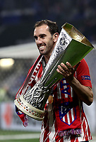 Club Atletico de Madrid's Juanfran holds the trophy at the end of the UEFA Europa League final football match between Olympique de Marseille and Club Atletico de Madrid at the Groupama Stadium in Decines-Charpieu, near Lyon, France, May 16, 2018. Club Atletico de Madrid won 3-0.<br /> UPDATE IMAGES PRESS/Isabella Bonotto