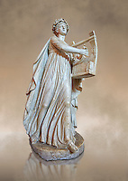 Roman ststue of Apollo with a lyre, copied from an earlier 4th cebtury BC Hellenistic statue, from a group of Muses found in Villa de Cassius at Tivoli,  inv 310, Vatican Museum Rome, Italy,  art background