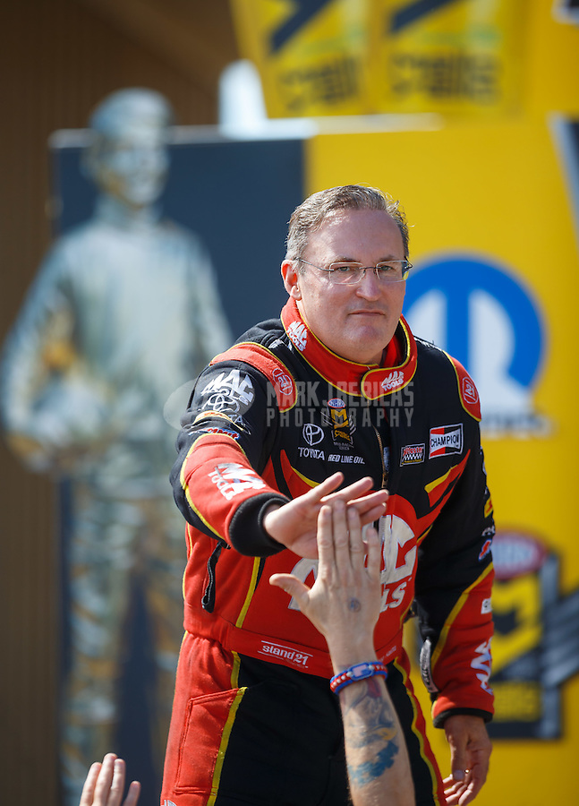 Jul 24, 2016; Morrison, CO, USA; NHRA top fuel driver Doug Kalitta during the Mile High Nationals at Bandimere Speedway. Mandatory Credit: Mark J. Rebilas-USA TODAY Sports