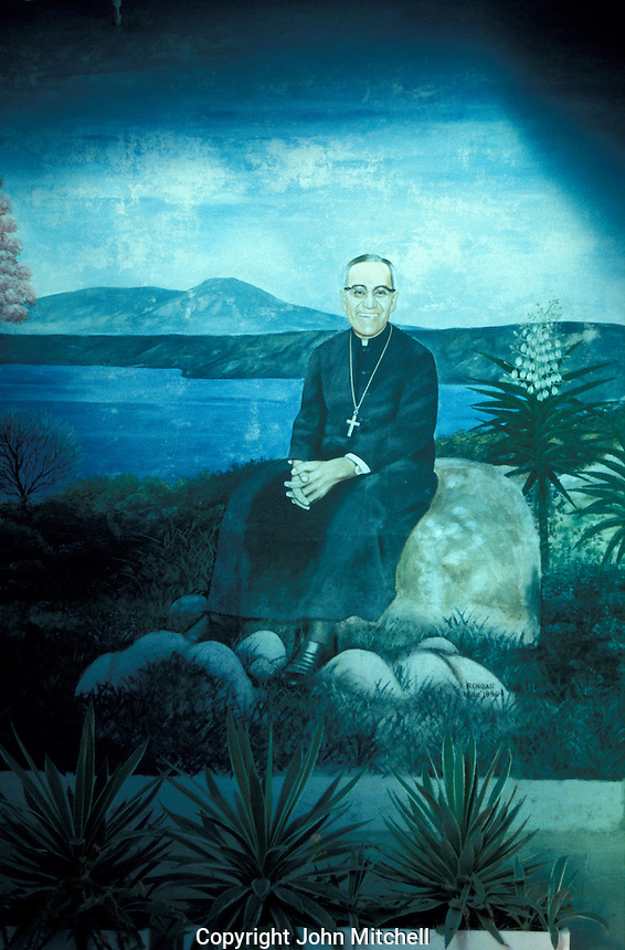 Mural of liberation theologist Archbishop Oscar Romero in his house on the grounds of the Divina Providencia Hospital in San Salvador, El Salvador