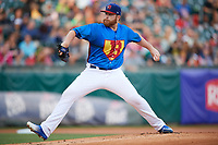 Buffalo Bisons starting pitcher Brett Anderson (48) delivers a pitch during a game against the Gwinnett Braves on August 19, 2017 at Coca-Cola Field in Buffalo, New York.  The Bisons wore special Superhero jerseys for Superhero Night.  Gwinnett defeated Buffalo 1-0.  (Mike Janes/Four Seam Images)