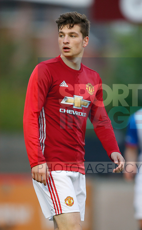 Zak Dearnley of Manchester Utd during the U18 Premier League Merit Group A match at The J Davidson Stadium, Altrincham. Date 12th May 2017. Picture credit should read: Simon Bellis/Sportimage