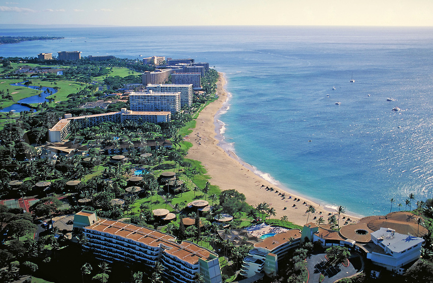 aerial view of Kaanapai beach looking south-west to the Pacific.sand, vacation, holiday, surf, tropical, hotel, luxury. Kaanapali Hawaii USA Maui.