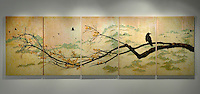 "Mixed media encaustic photo transfer over antique map by Jeff League.  5 panel, 67"" x 18'-0""."