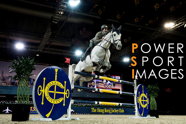 Riders in action during the Hong Kong Jockey Club Trophy competition as part of the Longines Hong Kong Masters on 13 February 2015, at the Asia World Expo, outskirts Hong Kong, China. Photo by Victor Fraile / Power Sport Images