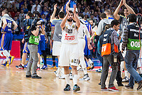 Real Madrid's Sergio Llull celebrating the victory during Euroleague match at Barclaycard Center in Madrid. April 07, 2016. (ALTERPHOTOS/Borja B.Hojas) /NortePhoto