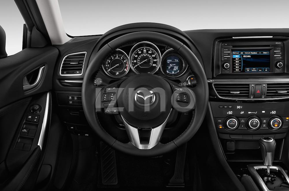 Steering wheel view of a 2014 Mazda Mazda6 i Touring Sedan