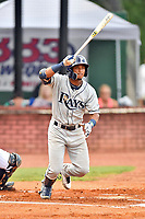 Princeton Rays shortstop Wander Franco (6) swings at a pitch during game two of the Appalachian League Championship Series against the Elizabethton Twins at Joe O'Brien Field on September 5, 2018 in Elizabethton, Tennessee. The Twins defeated the Rays 2-1 to win the Appalachian League Championship. (Tony Farlow/Four Seam Images)