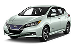 2018 Nissan Leaf SV 5 Door Hatchback angular front stock photos of front three quarter view