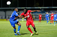 James Alabi of Leyton Orient and Paul Kalambayi of AFC Wimbledon compete for the ball during the The Leasing.com Trophy match between AFC Wimbledon and Leyton Orient at the Cherry Red Records Stadium, Kingston, England on 8 October 2019. Photo by Carlton Myrie / PRiME Media Images.