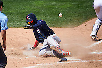 Pawtucket Red Sox center fielder Rusney Castillo (26) slides safely into home during a game against the Rochester Red Wings on June 29, 2016 at Frontier Field in Rochester, New York.  Pawtucket defeated Rochester 3-2.  (Mike Janes/Four Seam Images)