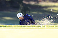 Dustin Johnson (USA) chips from a bunker at the 1st green during Thursday's Round 1 of the 2018 AT&amp;T Pebble Beach Pro-Am, held over 3 courses Pebble Beach, Spyglass Hill and Monterey, California, USA. 8th February 2018.<br /> Picture: Eoin Clarke | Golffile<br /> <br /> <br /> All photos usage must carry mandatory copyright credit (&copy; Golffile | Eoin Clarke)