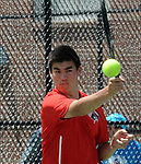 (Boston Ma 051814) Ethan Chapman of Wellesley High with a return in the doubles match, during the South Sectional Finals, Sunday at Newton North High School, Sunday, May 18, 2014, in Newton. (Jim Michaud Photo) for Sunday