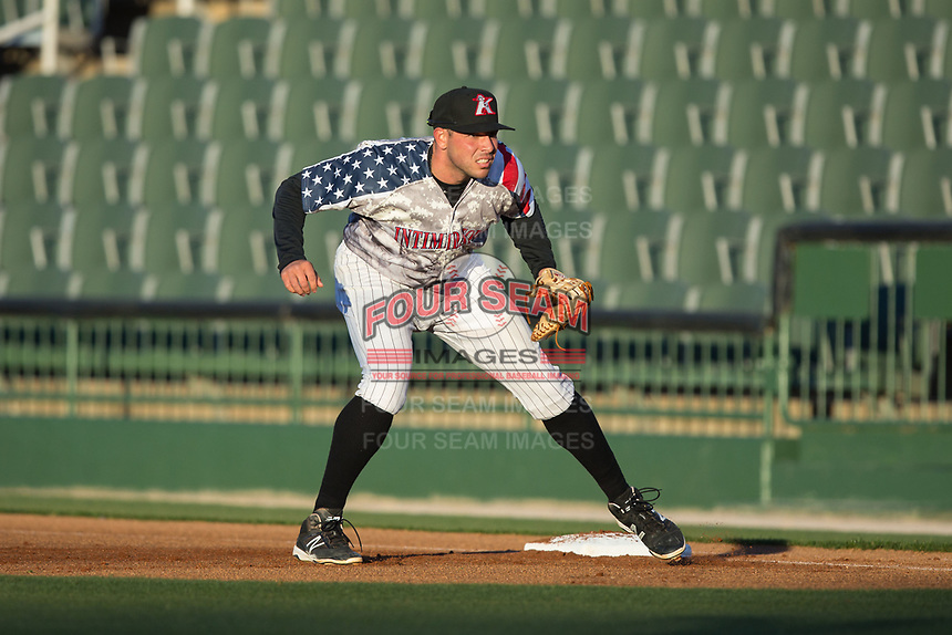 Kannapolis Intimidators first baseman Brandon Dulin (31) on defense against the Lakewood BlueClaws at Kannapolis Intimidators Stadium on April 7, 2017 in Kannapolis, North Carolina.  The BlueClaws defeated the Intimidators 6-4.  (Brian Westerholt/Four Seam Images)