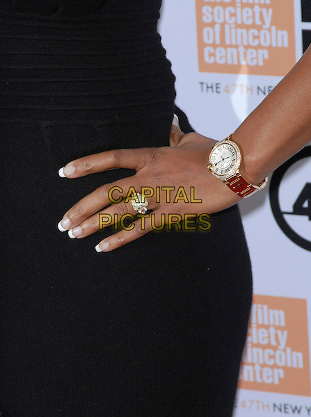 "MARY J. BLIGE's watch .At the 47th Annual New York Film Festival Centerpiece Screening of ""Precious"" held at Alice Tully Hall, Lincoln Center, New York, NY, USA, October 3rd, 2009. .detail hand ring wrist diamond wedding engagement .CAP/LNC/TOM.©LNC/Capital Pictures"