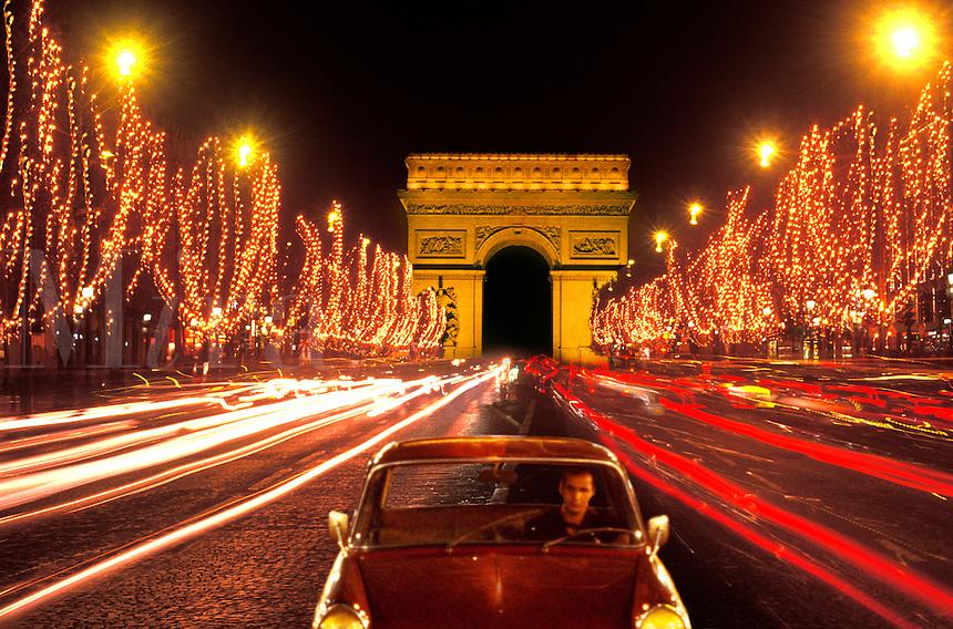 Champs Elysees and Arc de Triomphe Paris , France