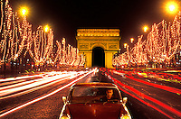 Champs Elysees and Arc de Triomphe Paris , France
