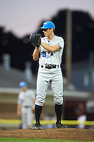 Hudson Valley Renegades relief pitcher Porter Clayton (19) during a game against the Batavia Muckdogs on August 1, 2016 at Dwyer Stadium in Batavia, New York.  Hudson Valley defeated Batavia 5-1.  (Mike Janes/Four Seam Images)