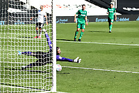 18th July 2020; Craven Cottage, London, England; English Championship Football, Fulham versus Sheffield Wednesday; Joe Wildsmith of Sheffield Wednesday dives but cannot keep out Bobby Reid of Fulham shot for 5-3 in the  91st minute