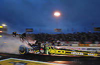 Jun. 1, 2012; Englishtown, NJ, USA: NHRA top fuel dragster driver Morgan Lucas during qualifying for the Supernationals at Raceway Park. Mandatory Credit: Mark J. Rebilas-