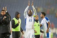 Felipe Baloy of Panama claps the Wales crowd at full time of the International Friendly match between Wales and Panama at the Cardiff City Stadium, Cardiff, Wales on 14 November 2017. Photo by Mark Hawkins.
