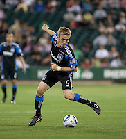 Brad Ring controls the ball. The San Jose Earthquakes defeated Chivas USA 6-5 in shootout after drawing 0-0 in regulation time to win the inagural Sacramento Cup at Raley Field in Sacramento, California on June 12, 2010.