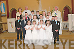 COMMUNION: The First Holy Communion Class in Athea on Saturday with teacher Mrs Culhane and Fr Kelly and Fr Madden.   Copyright Kerry's Eye 2008
