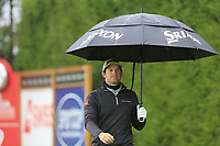 Ricardo Gouveia (POR) walks off the 9th tee during a wet Saturday's Round 3 of the 2017 Omega European Masters held at Golf Club Crans-Sur-Sierre, Crans Montana, Switzerland. 9th September 2017.<br /> Picture: Eoin Clarke | Golffile<br /> <br /> <br /> All photos usage must carry mandatory copyright credit (&copy; Golffile | Eoin Clarke)