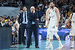 Real Madrid coach Pablo Laso and Rudy Fernandez during Turkish Airlines Euroleague match between Real Madrid and Fenerbahce Dogus at Wizink Center in Madrid , Spain. March 02, 2018. (ALTERPHOTOS/Borja B.Hojas)