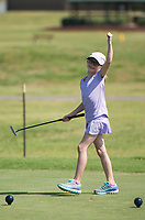 NWA Democrat-Gazette/CHARLIE KAIJO Sawyer Smith, 9, of Siloam Springs reacts during a junior golf tournament, Sunday, June 10, 2018 at The First Tee Learning Center in Lowell.<br /><br />A joint initiative founded in 2013 by the Masters Tournament, United States Golf Association and The PGA of America, the Drive, Chip and Putt Championship is a free nationwide junior golf development competition aimed at growing the game by focusing on the three fundamental skills employed in golf.<br /><br />By tapping the creative and competitive spirit of girls and boys ages 7-15, the Drive, Chip and Putt Championship provides aspiring junior golfers an opportunity to play with their peers in qualifiers around the country. Participants who advance through local, sub-regional and regional qualifying in each age/gender category earn a place in the National Finals, which is conducted at Augusta National Golf Club the Sunday before the Masters Tournament and is broadcast live by Golf Channel.<br /><br />Over 160 boys and girls throughout Northwest Arkansas have registered to compete in local qualifier.