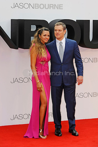 LONDON, ENGLAND - JULY 11: Luciana Barroso and Matt Damon attending the 'Jason Bourne' European Premiere at Odeon Cinema, Leicester Square on July 11, 2016 in London, England.<br /> CAP/MAR<br /> &copy;MAR/Capital Pictures /MediaPunch ***NORTH AND SOUTH AMERICAS ONLY***