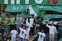 BOGOTÁ -COLOMBIA, 12-08-2018: Hinchas de Equidad animan a su equipo durante el encuentro entre La Equidad y Deportivo Pasto por la fecha 4 de la Liga Águila II 2018 jugado en el estadio Metropolitano de Techo de la ciudad de Bogotá. / Fans of Equidad cheer for their team during match for the date 4 between La Equidad and Deportivo Pasto for the date 4 of the Aguila League II 2018 played at Metropolitano de Techo stadium in Bogotá city. Photo: VizzorImage/ Gabriel Aponte / Staff