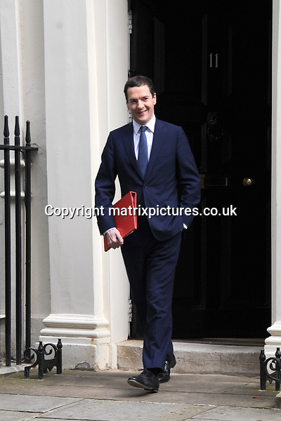 NON EXCLUSIVE PICTURE: MATRIXPICTURES.CO.UK<br /> PLEASE CREDIT ALL USES<br /> <br /> WORLD RIGHTS<br /> <br /> British Conservative Party Chancellor George Osbourne is pictured walking out of London's 11 Downing Street.<br /> <br /> Theresa May will today become the new Prime Minister, causing an immediate Cabinet reshuffle. <br /> <br /> July 13th 2016<br /> <br /> REF: TST 162263