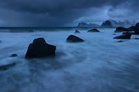 Stormy winter beach at Myrland, Flakstadøy, Lofoten Islands, Norway