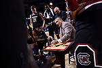 GREENVILLE, SC - MARCH 19: Head coach Frank Martin of the University of South Carolina diagrams a play for his team in a time out during the 2017 NCAA Men's Basketball Tournament held at Bon Secours Wellness Arena on March 19, 2017 in Greenville, South Carolina. (Photo by Grant Halverson/NCAA Photos via Getty Images)