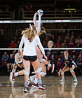 STANFORD, CA - December 1, 2018: Jenna Gray, Meghan McClure at Maples Pavilion. The Stanford Cardinal defeated Loyola Marymount 25-20, 25-15, 25-17 in the second round of the NCAA tournament.
