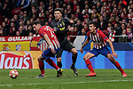 Atletico de Madrid's Jose Maria Gimenez (L) and Rodrigo Hernandez (R) and Juventus' Cristiano Ronaldo during UEFA Champions League match, Round of 16, 1st leg between Atletico de Madrid and Juventus at Wanda Metropolitano Stadium in Madrid, Spain. February 20, 2019. (ALTERPHOTOS/A. Perez Meca)